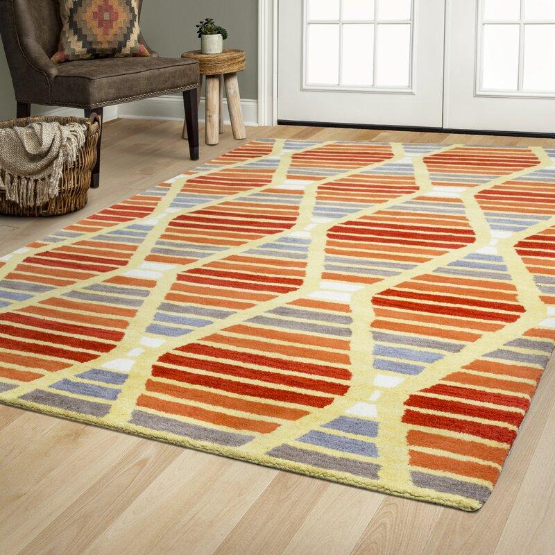 Brayden Studio Rigoberto Hand Tufted Wool Red Orange Area Rug Reviews Wayfair