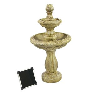 Resin Solar 2 Tier Tulip on Demand Fountain with LED Light