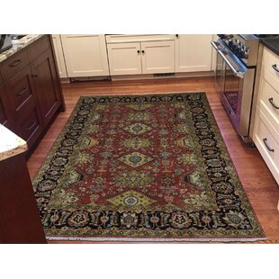 Deals One-of-a-Kind Flynn Hand-Knotted 5' x 7'3 Wool Red/Black/Gold Area Rug By Isabelline