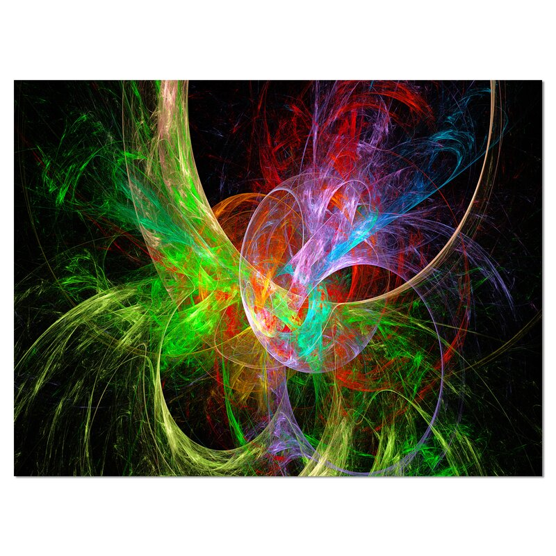 Designart Multi Color Fractal Abstract Design Graphic Art On Wrapped Canvas In Green Red Black Reviews Wayfair