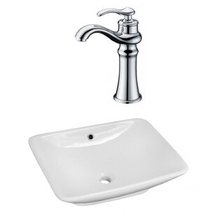 Affordable Ceramic Rectangular Vessel Bathroom Sink with Faucet and Overflow ByAmerican Imaginations