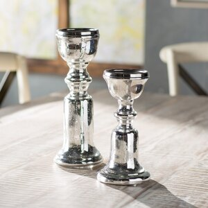 2 Piece Silver Candlestick Set