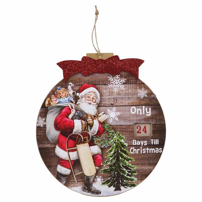 Days Till Christmas Uk.Christmas Countdown Wall Plaque Santa