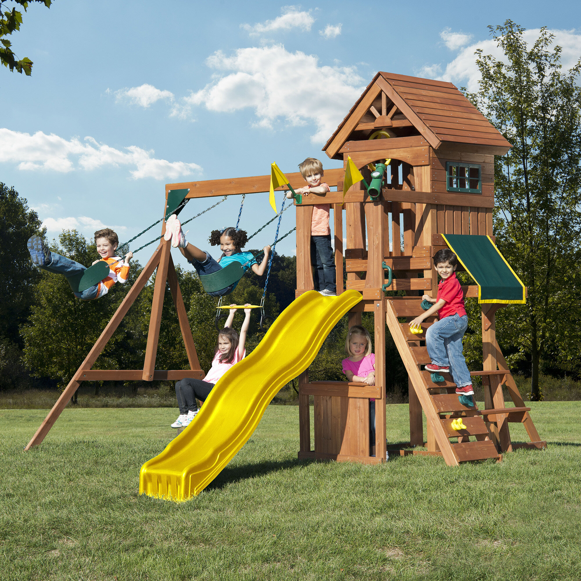 Swing N Slide Jamboree Fort Play Swing Set Reviews Wayfair