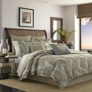 Raffia Palms 100% Cotton 3 Piece Reversible Duvet Cover Set