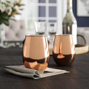 Elinor Copper Stemless Wine Glasses (Set of 2)