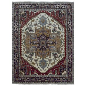 One-of-a-Kind  Roselle Oriental Hand Woven Wool Red/Blue Area Rug