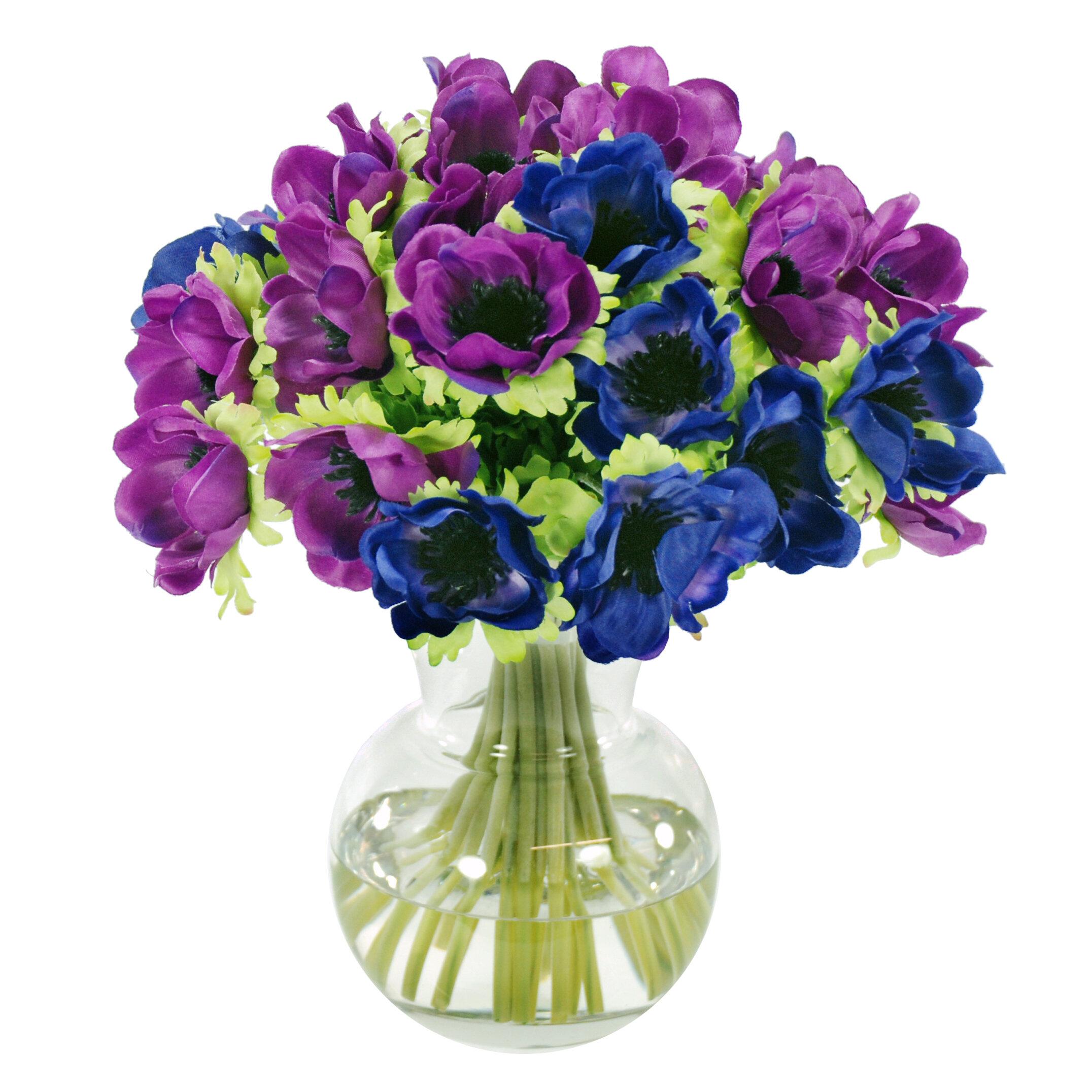 Winward Silks Anemone Bunch In Glass Vase Wayfair