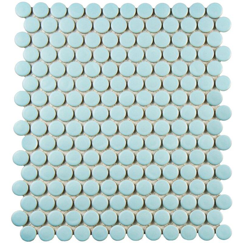 "Retro Penny Round 0.75"" x 0.75"" Porcelain Mosaic Tile"