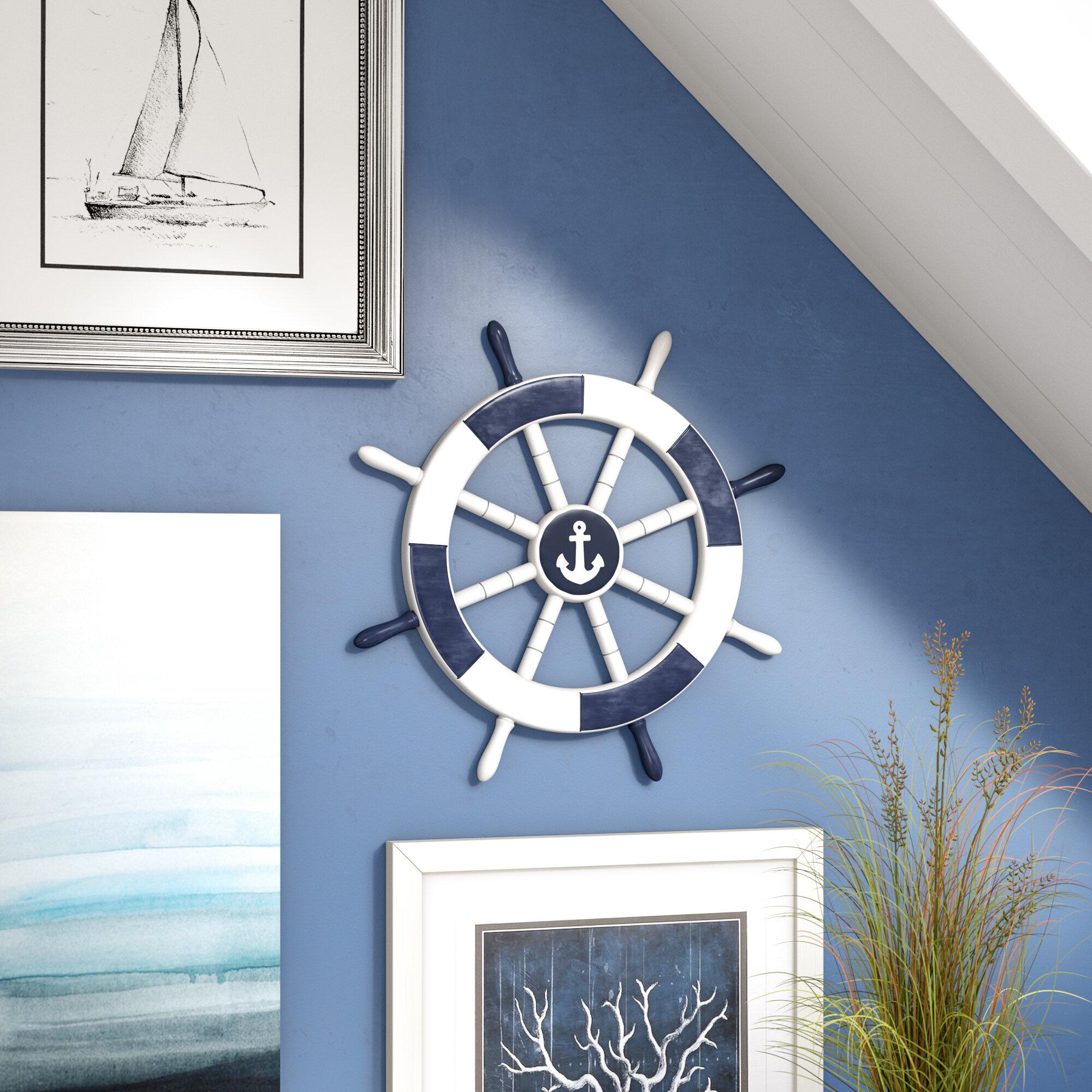 18 White Decorative Ship Wheel With Anchor Wall D Cor