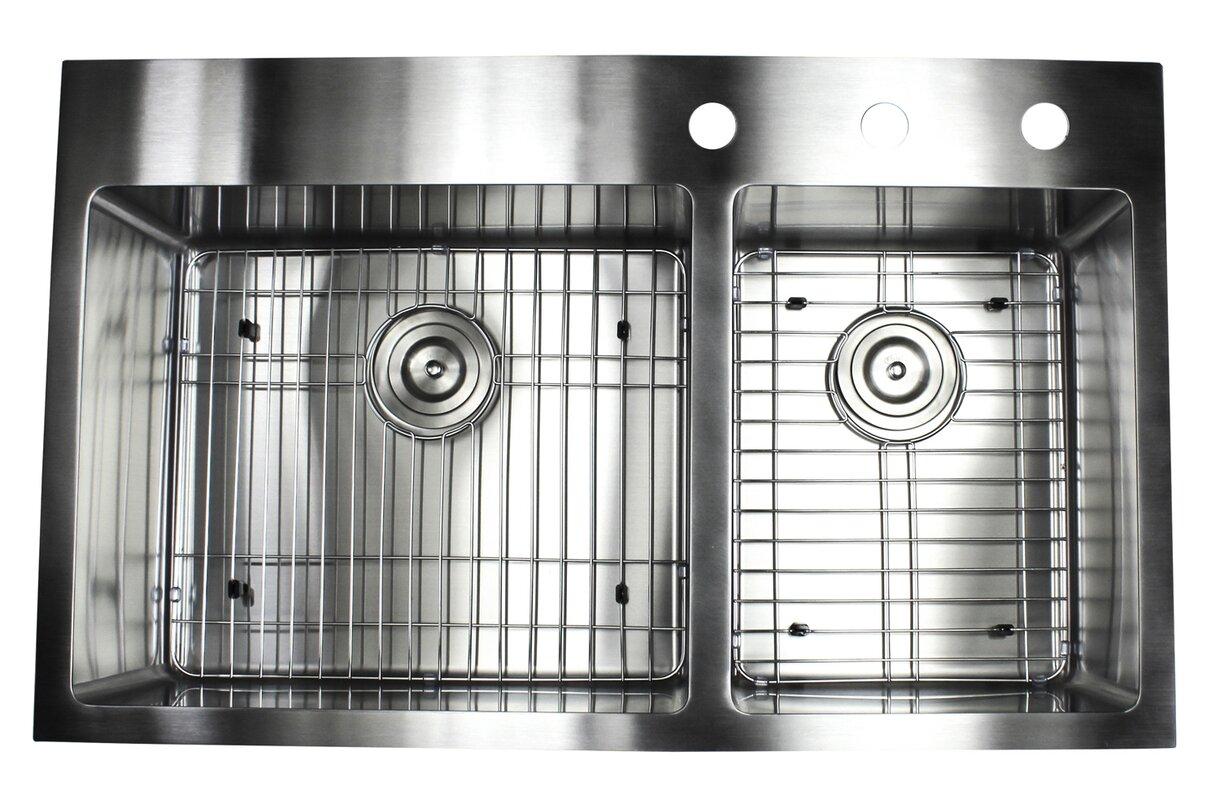 ariel 36   x 22   double basin drop in kitchen sink with bonus accessories emodern decor ariel 36   x 22   double basin drop in kitchen sink      rh   wayfair com