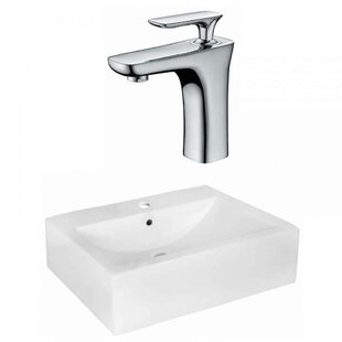 Xena Farmhouse Semi-Recessed Ceramic Rectangular Vessel Bathroom Sink with Faucet and Overflow by Royal Purple Bath Kitchen