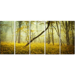 Yellow flower wall art wayfair forest with yellow flowers 5 piece wall art on wrapped canvas set mightylinksfo