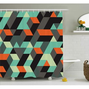 Margaret Modern Geometric Print With Squares Triangles and Shadows Zig Zag Decorative Image Single Shower Curtain