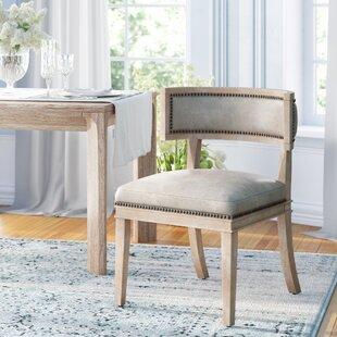 Philomene Genuine Leather Upholstered Dining Chair (Set of 2)