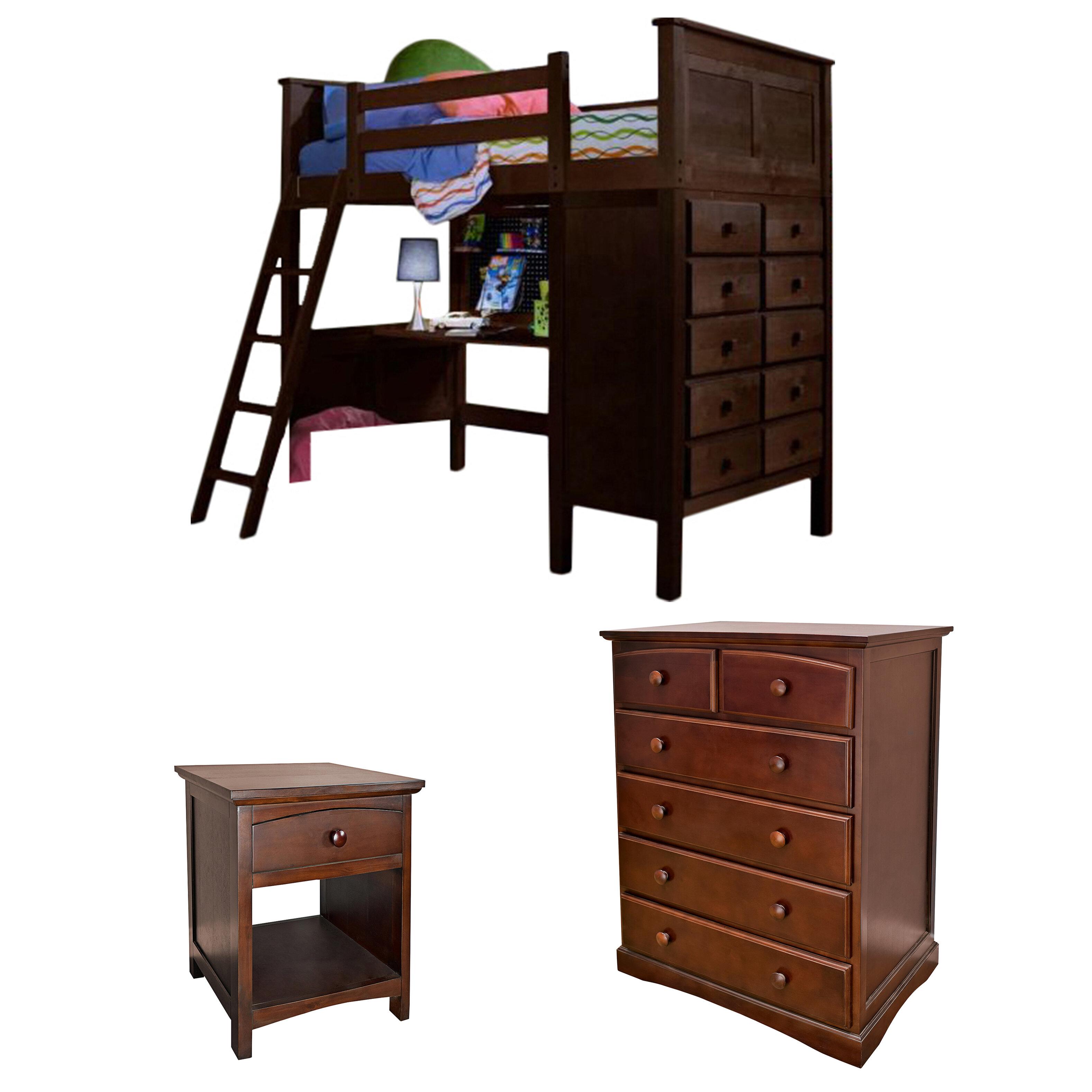 Sandisfield Twin Loft Bed W Dresser