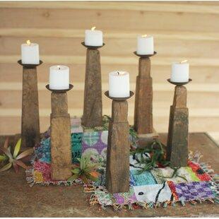 Furniture Leg 6 Piece Wood Candlestick Set