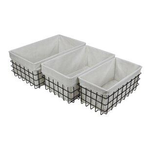 Superbe 3 Piece Lined Metal Wire Rectangular Storage Basket Set