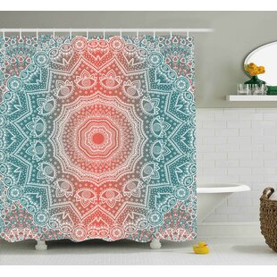 Reviews Devin Coral and Teal Modern Tribal Mandala Tibetan Healing Motif With Floral Geometric Ombre Art Shower Curtain By Bungalow Rose