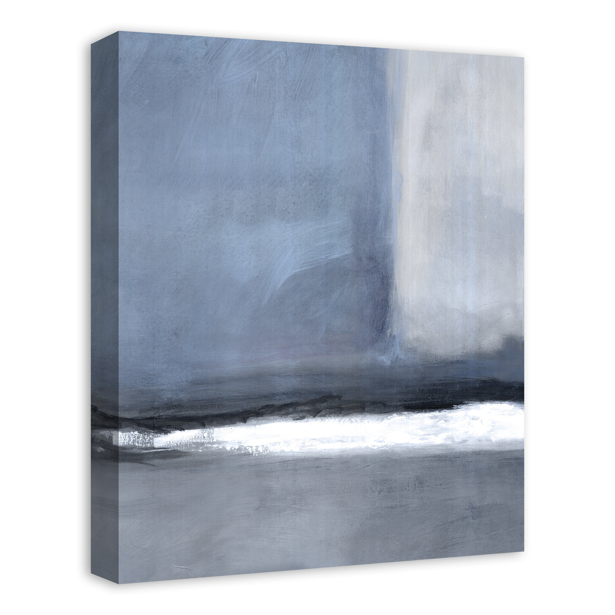 Latitude Run Blue Gray Abstract Wrapped Canvas Painting Print Wayfair