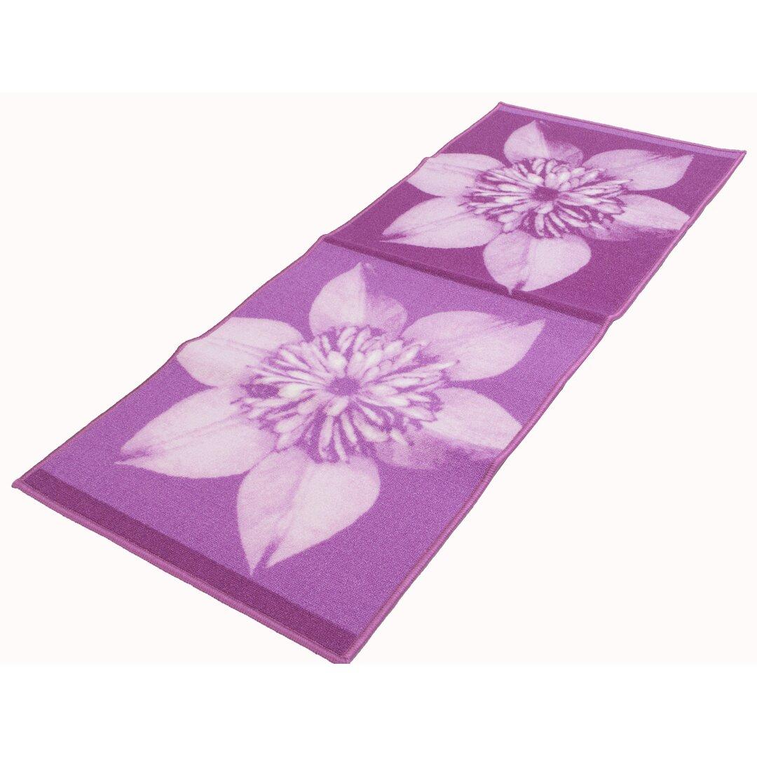 Antonne Runner Floral Handmade Dhurrie Purple Rug