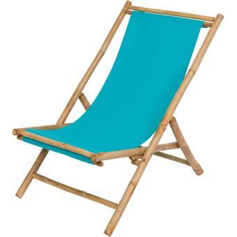 Bayou Breeze Atalya Folding Bamboo Relax Sling Beach Chair Wayfair