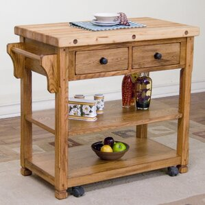 Fresno Kitchen Island with Butcher Block Top by Loon Peak