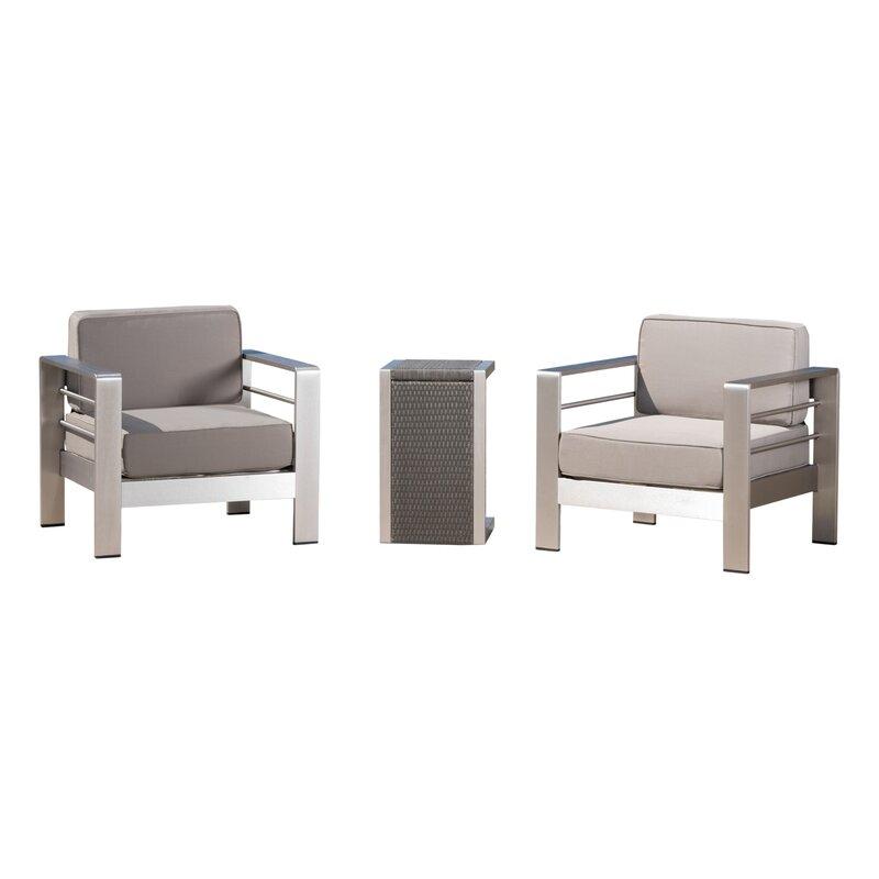 Brayden Studio  Royalston 3 Piece Conversation Set with Cushions
