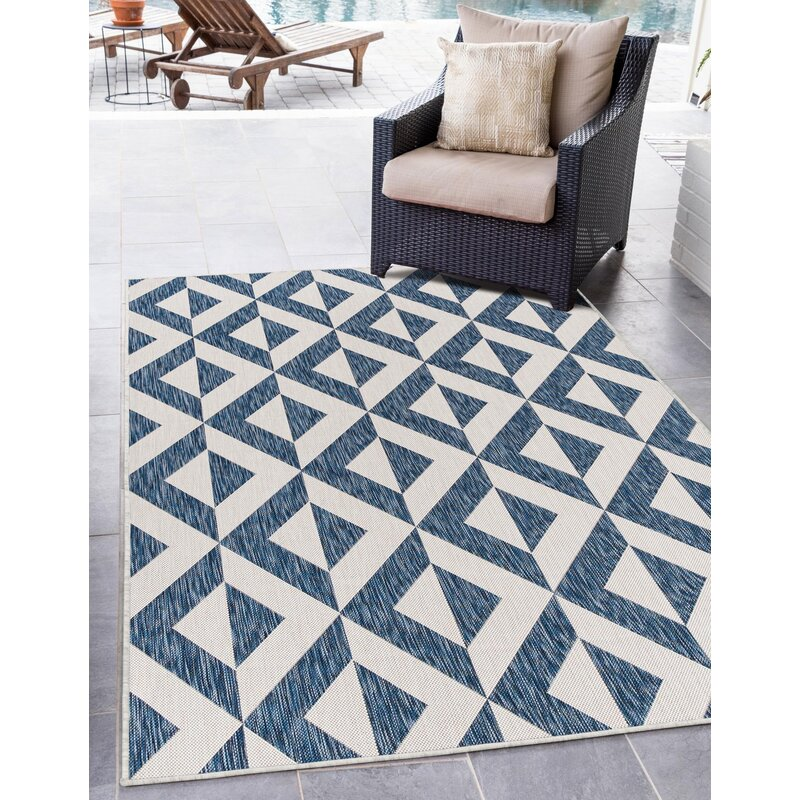 George Oliver Jerlene Geometric Blue White Indoor Outdoor Area Rug Wayfair