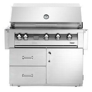 Vintage 4-Burner Built-In Convertible Gas Grill with Smoker