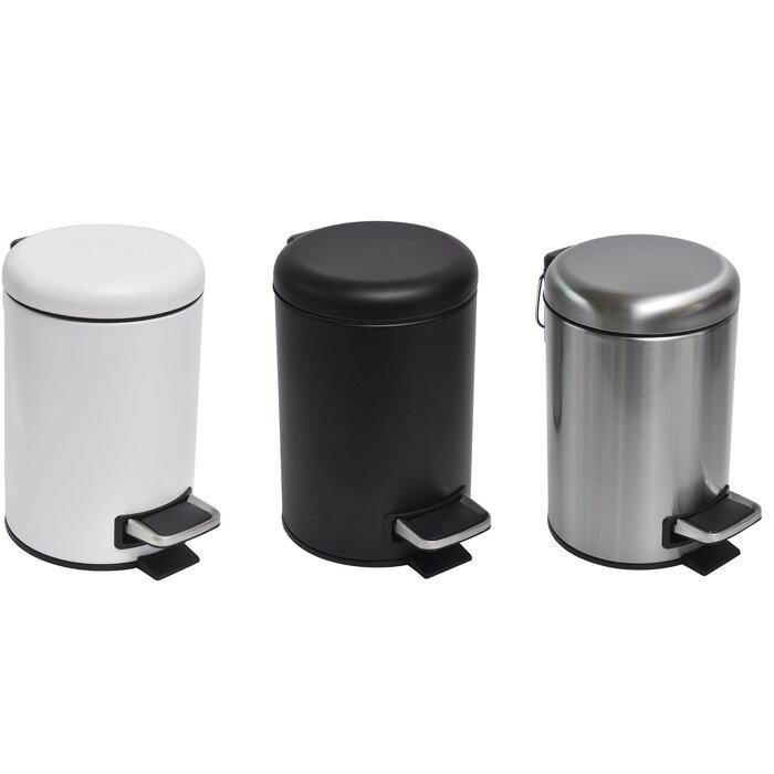Evideco Soft Close Small Round Metal Bathroom Floor Step Trash Can Waste Bin 3-litres