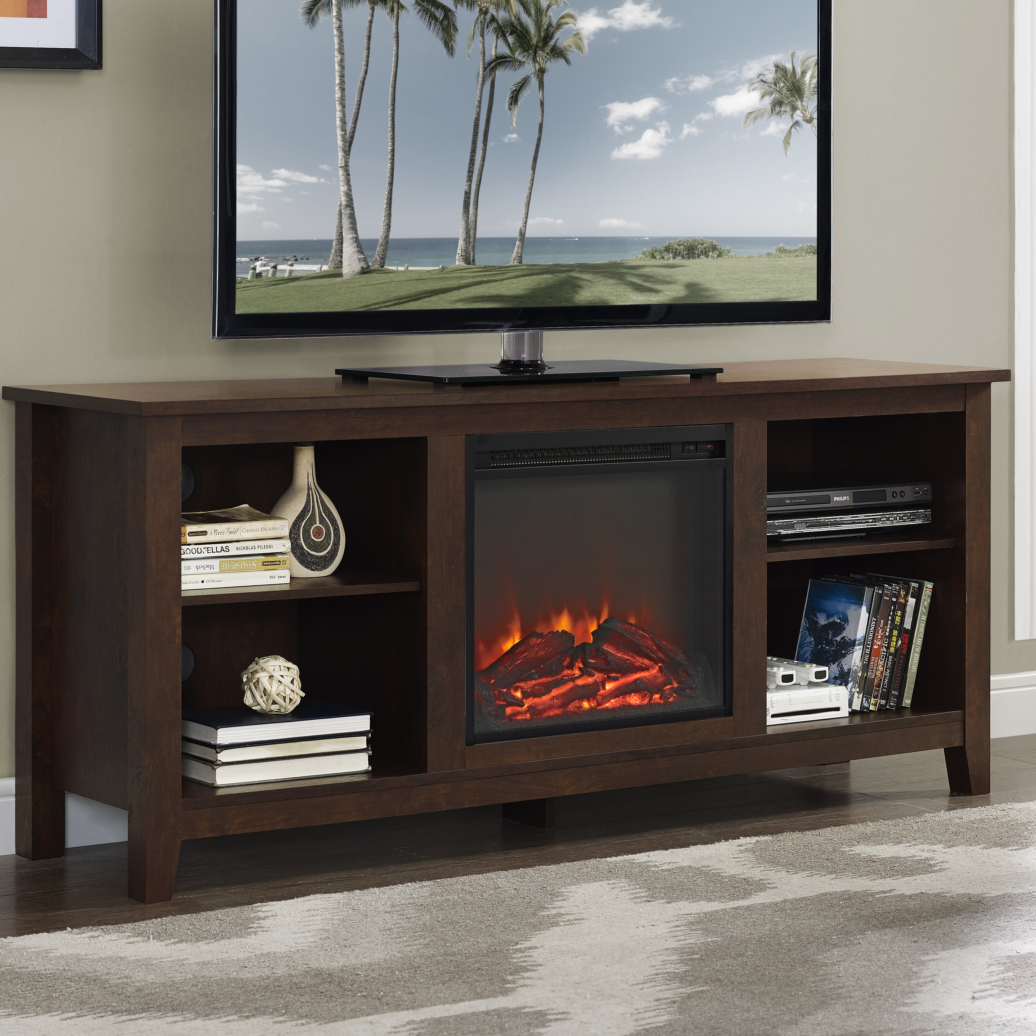 console entertainment your simple let ordinary modern and center home electric stand the away lighted a media itm with living donrsquot room ameriwood makeover fireplace lumina give step from tv