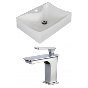 Ceramic 7 Wall Mount Bathroom Sink with Faucet and Overflow