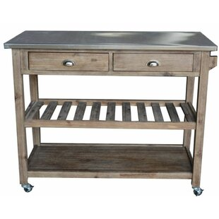 June Wooden Kitchen Cart with Metal by Gracie Oaks