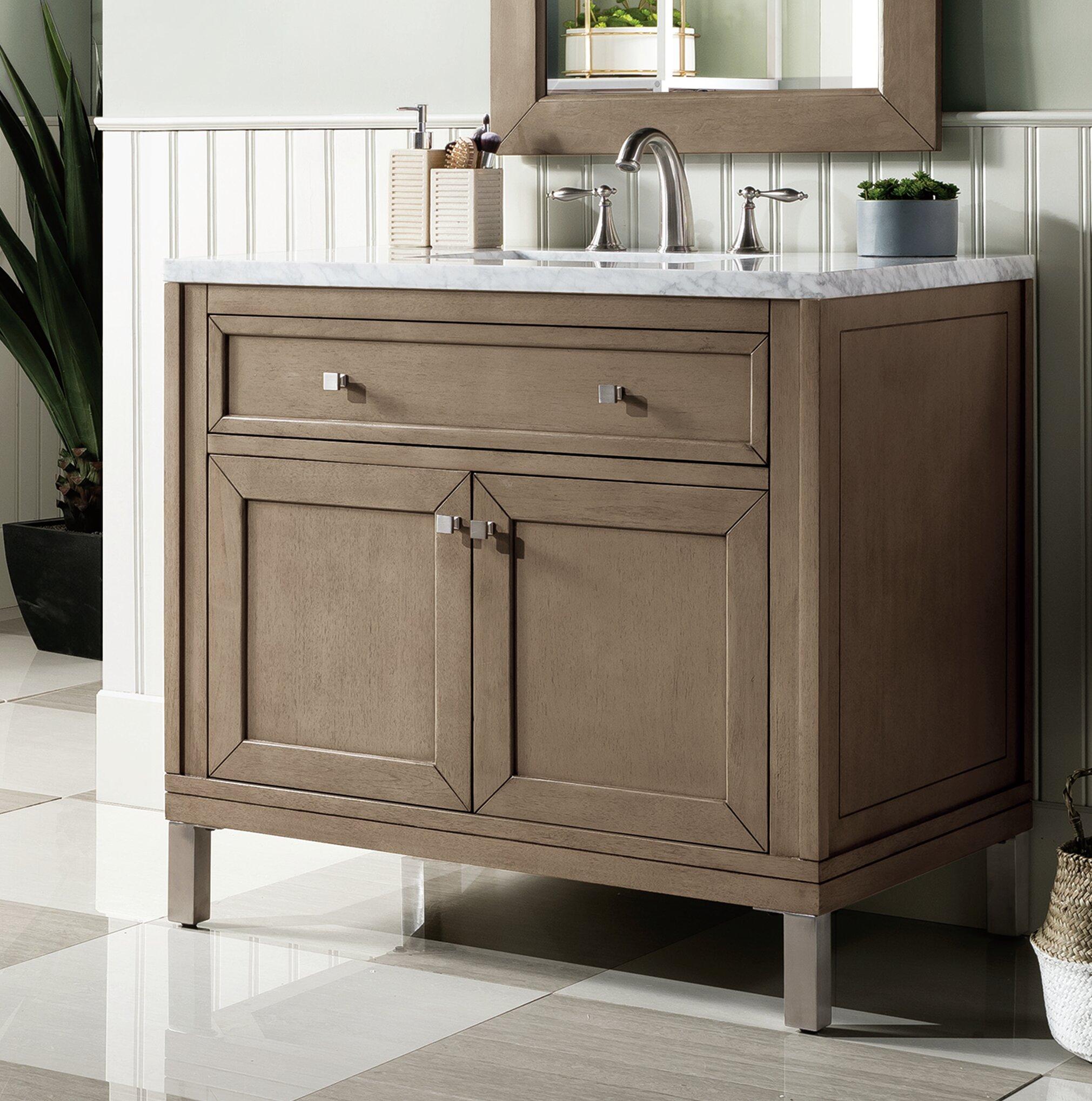 Picture of: Brayden Studio Whitworth 36 Wall Mounted Single Bathroom Vanity Set Wayfair