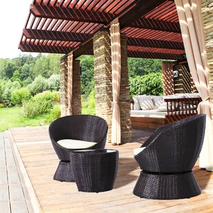Perdita 3 Piece Rattan Swivel Seating Group with Cushion by Wrought Studio