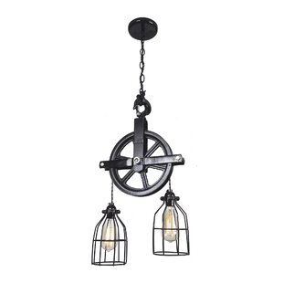Barn Pulley 2-Light Cascade Pendant by West Ninth Vintage