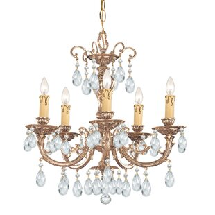 House of Hampton Aureolin 5-Light Crystal Chandelier