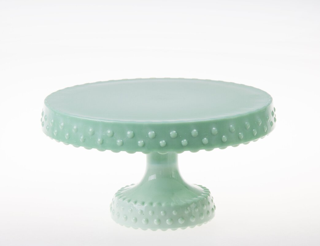 Perdue Milk Glass Hobnail Rimmed Cake Stand