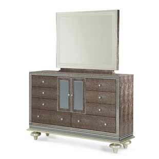 Hollywood Swank 9 Drawer Combo Dresser with Mirror