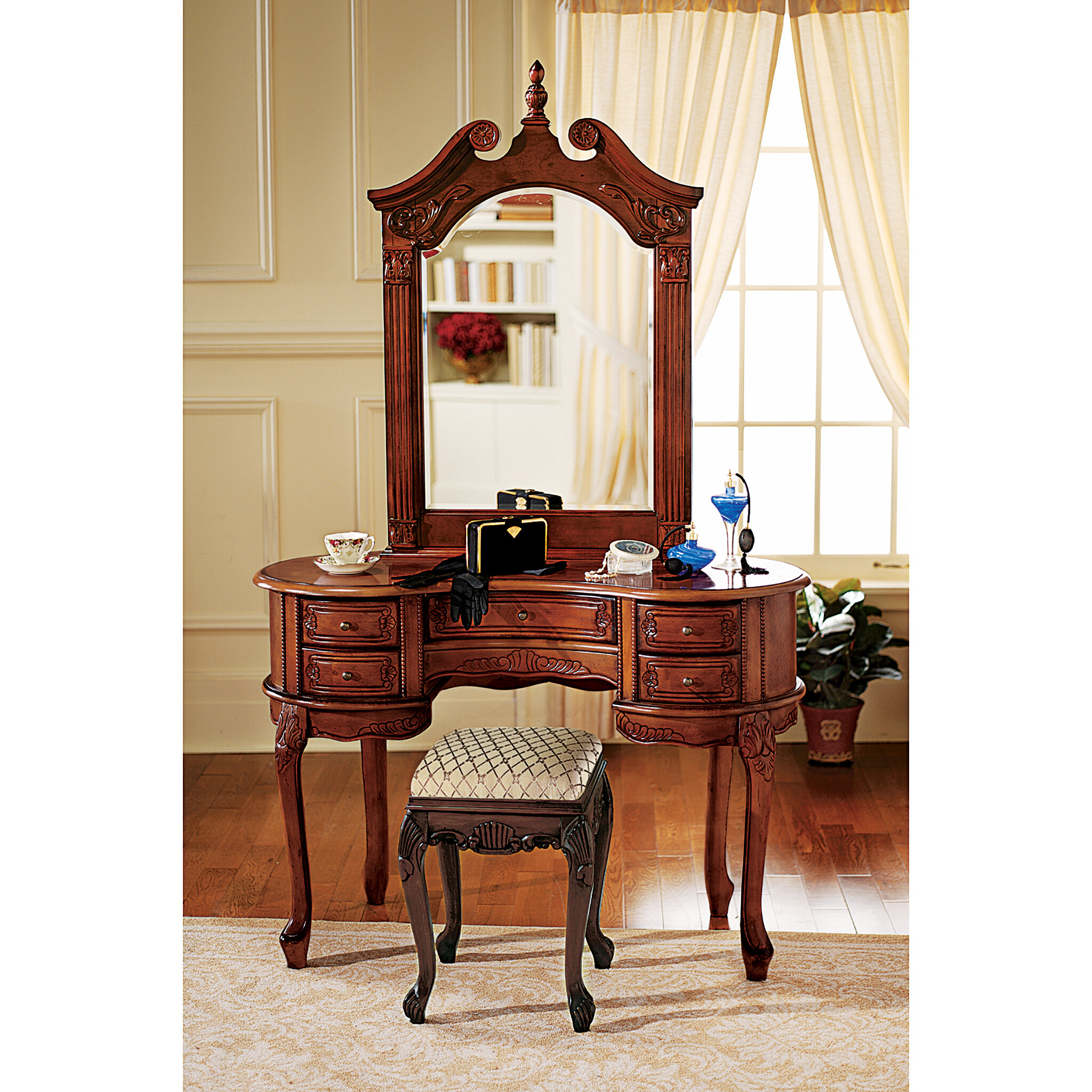 Design Toscano Queen Anne Vanity With Mirror Reviews Wayfair