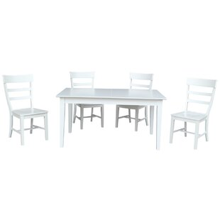 Davina 5 Piece Extendable Solid Wood Dining Set