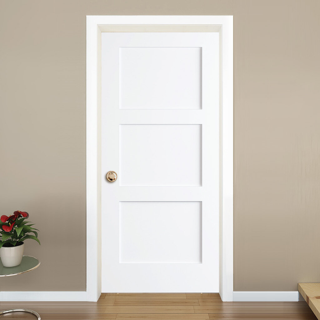 Kiby Paneled Solid Manufactured Wood Primed Shaker Standard Door Reviews Wayfair