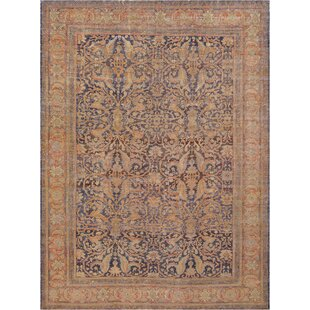 One-of-a-Kind Antique Sultanabad Handwoven Wool Indigo/Orange Indoor Area Rug by Mansour