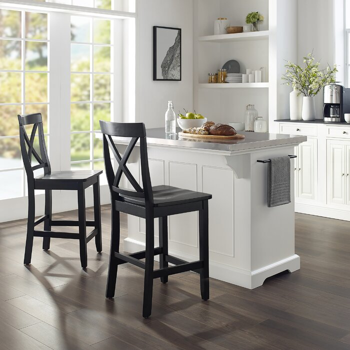 Gael Kitchen Island Set with Stailess Steel Top