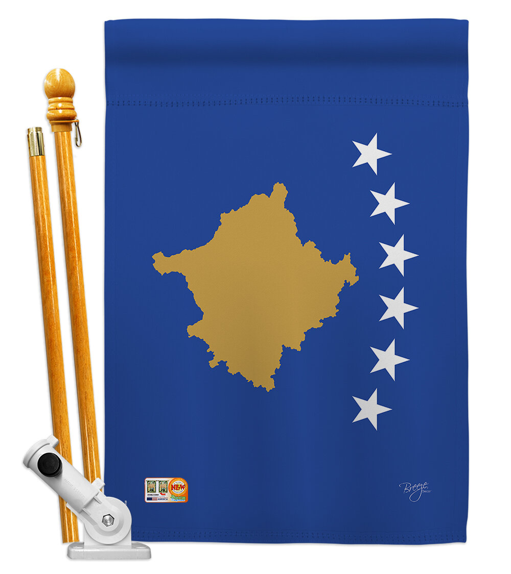 Breeze Decor Kosovo Flags Of The World Nationality Impressions Decorative Vertical 2 Sided Polyester 28 X 40 In Flag Set Wayfair