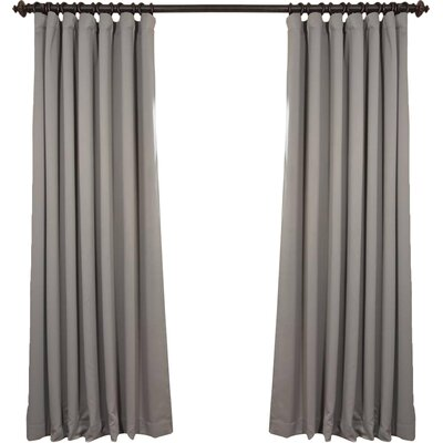 Alcott Hill Aldreda Extra Wide Solid Blackout Thermal Rod Pocket Single Curtain Panel Size per Panel: 120 L x 100 W, Color: Neutral Grey