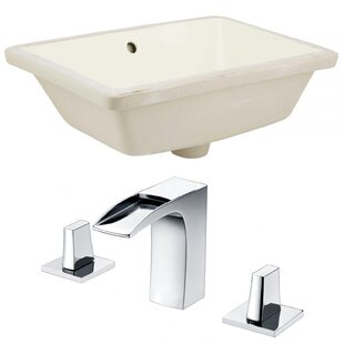 Look for Ceramic Rectangular Undermount Bathroom Sink with Faucet and Overflow ByAmerican Imaginations