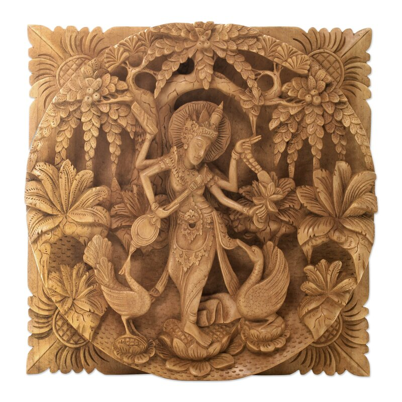 Panel Wall Decor novica hindu goddess themed carved wood relief panel wall décor