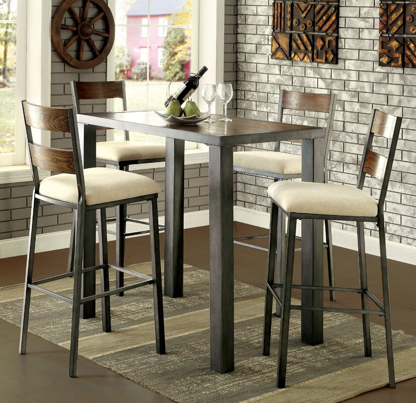 Thurman 5 Piece Pub Table Set Red